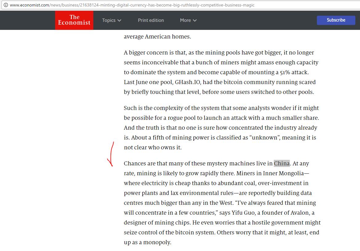 Самые популярные пулы (многочисленные группы майнеров) находятся в Китае (Themagicofmining (англ.), TheEconomist )